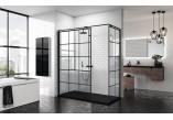 Ścianka - Walk-in Novellini Kuadra H Black 120 cm, profil czarny, szkło przezroczyste, wzór kwadratowy