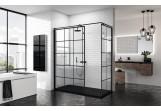 Ścianka - Walk-in Novellini Kuadra H Black 140 cm, profil czarny, szkło przezroczyste, wzór kwadratowy