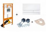 Stelaż podtynkowy do toalety WC, Jomo JomoTech, H112 z przyciskiem Exclusive 2.0, wspornikami oraz matą wygłuszającą, chrom błyszczący