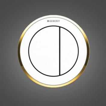 Przycisk do WC Geberit Typ 10 pneumatyczny, biały/złoty, ręczny, dwudzielny, podtynkowy, meblowy- sanitbuy.pl