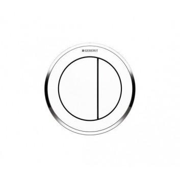 Przycisk do WC Geberit Typ 10 pneumatyczny, biały/złoty, ręczny, dwudzielny, podtynkowy, Sigma 8 cm- sanitbuy.pl